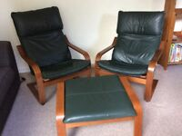 Ikea Poang armchairs and footstool