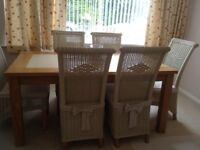 Dining table, six chairs and matching sideboard