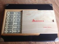 DOMINO SET, 91 DOMINOES, DOUBLE TWELVE SET, WOODEN BOX, NEW UNOPENED, IVORY AND BLACK STYLE