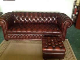 Authentic 3 seaters Chesterfield sofa + footstool