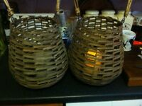WICKER/RATTAN LANTERNS 2 OFF WITH LED CANDLES