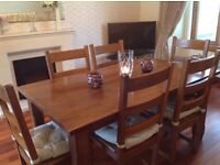 Rubber wood table and six chairs