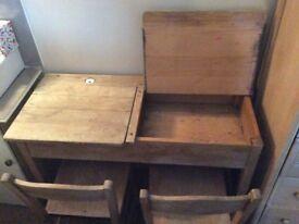 Vintage double children's school desk plus original chairs