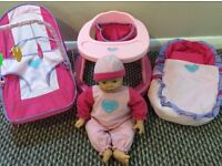 'Babies to Love' Doll with Walker, Bouncer and Carry Cot