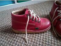 Kicker boots pink girls size 11