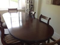 Mahogany Extending Oval Dining Table with Green Regency Stripe Style Chairs USED