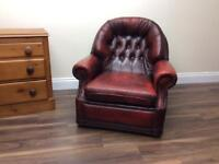 Ox blood leather chesterfield Armchair