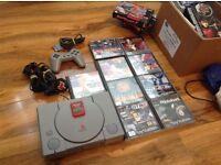 Sony Playstation 1 PS1 Console + 9 games, Fear Effect Tekken Tomb Raider GTA 2