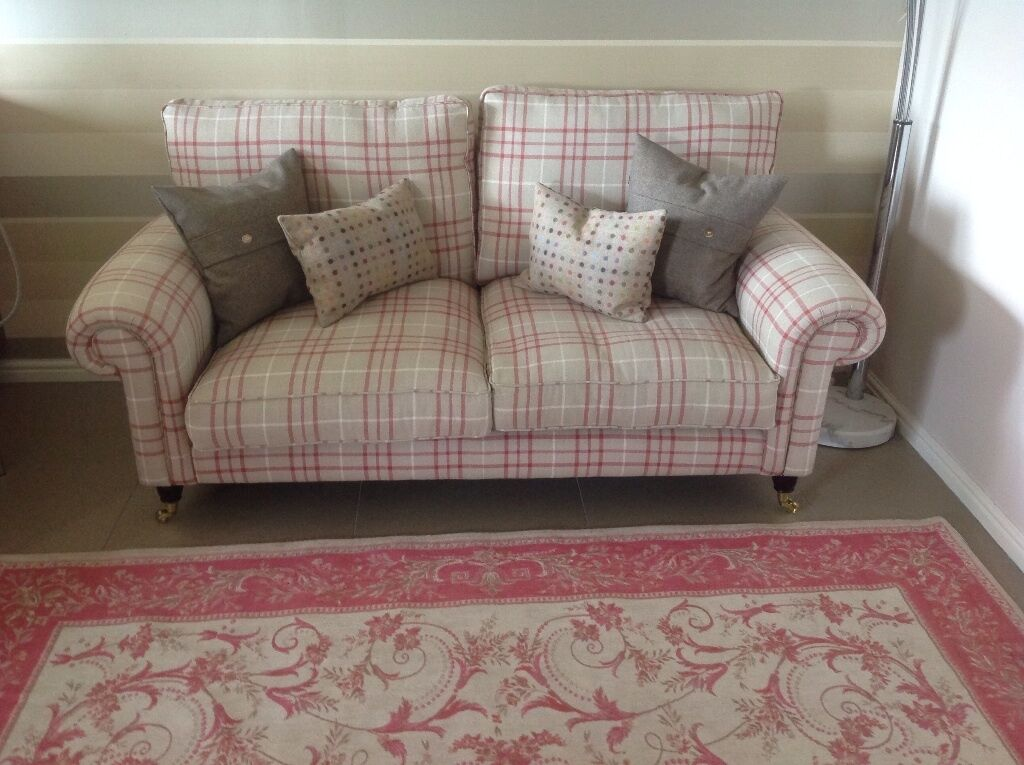 Laura Ashley Kingston Sofa In Keynes Cranberry Check Fabric Excellent Condition Cost 1200