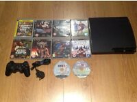 PS3 SLIM + 10 AWESOME GAMES + 1 ORIGINAL CONTROLLER (MINT CONDITION)