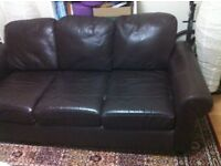 Ikea brown leather 3 seater sofa