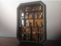 Wooden display case/cabinet, in green wood