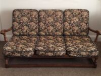 ERCOL 3 PIECE SUITE. 3 SEATER SETTEE AND 2 CHAIRS