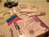 Nintendo wii console with bundle pack and microphone