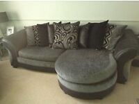 Black and charcoal grey dfs sofa and chair