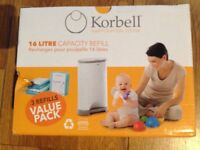 New Korbell Nappy Disposal System Refill Bags - 3 x 16L