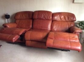Lazy boy chesterfield 3 and 2 seater tan leather reclining sofas / couches