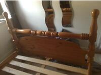 SOLID THICK CHUNKY PINE DOUBLE BED NEEDS A WEE BUT TLC