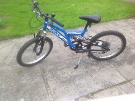 Trax full suspension mountain bike, 20inch wheel size, 6 gears, kick stand, 70