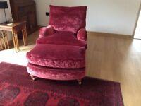 2 Duresta Lansdown armchairs and 1 run up footstool