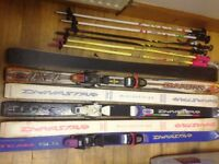 Skis, Childs, Dynastar Team, size 130 and poles - choice of 3 sets