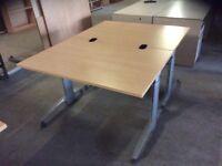 Two Beech Rectangle Height Adjustable Desks