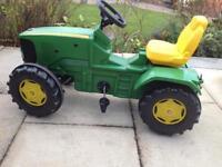 John Deere Kiddies Tractor and trailer