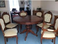 Dining Table, Round, extending centre pedestal with 6 upholstered chairs, incl 2 carvers. VGC