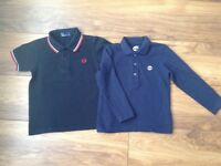 Boys Fred perry polo shirt age 4-5 and long sleeve Timberland top age 4