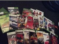 Xbox360+steering wheel&peddals +1control pad+Xbox steering wheel controller & 24 GAMES!!
