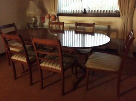 Dining Table with 6 chairs and matching display cabinet