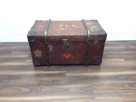 Antique Steamer trunk Chest bentwood coffee table vintage prop