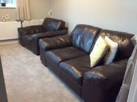 2 seater leather Sofa and chair .DFS Leather 2 seater and chair