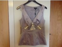 Brand new Next singniture silverly mauve ish beaded top size 12 £45