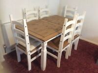 Dining Table & 6 Chairs. 1 Year Old. White & Wood. Includes Heart Seat Cushions.