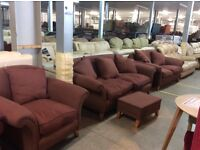 Burgundy fabric 3 & 2 seater with chair & footstool