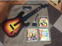 Guitar Hero world tour,guitar and World Tour game and Guitar Hero 3 and Band Hero games.