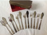 Set of six fish knives and forks