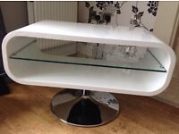 Dwell white gloss tv unit with chrome stand