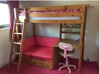 HIGHSLEEPER, WITH DESK, SHELVES AND PINK SOFA/SOFABED UNDERNEATH
