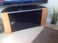 "BLACK GLASS AND OAK TV STAND by ""JOHN LEWIS"""