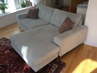 Beautiful Silver Grey fabric 4 seater sofa with Chaise in fantastic condition