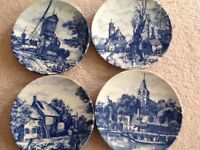 Vintage antique wall plates Delft chemkefa 4 seasons