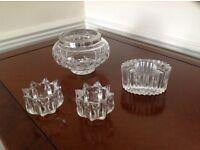 Cut glass rose bowl and three tea light holders