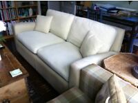 Pale green fabric sofa bed, good condition