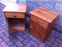 Matching pair of solid pine bedside cabinets with drawer