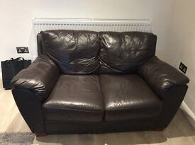 3 seater and 2 seater brown leather sofas.....must go asap!!! £100 or near offer for both!!!