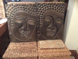 Carved solid wood Buddha wall hangings