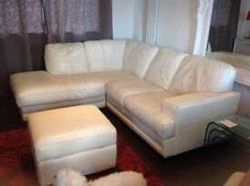 2 Beige Leither Sofas 2 Seater. & 3 Seater Good Condition