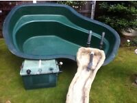 Used Atlantis fibreglass pond, filter and fibreglass waterfall